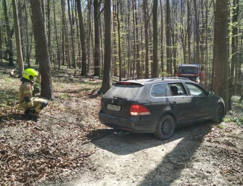 Kuriose Fahrzeugbergung im Wald